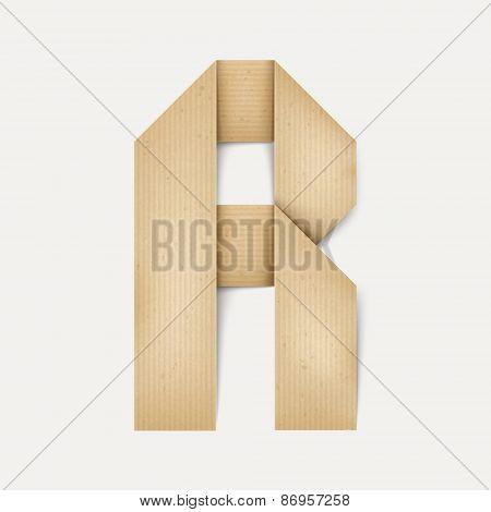 3D Elegant Folded Paper Letter R