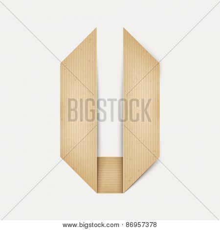 3D Elegant Folded Paper Letter V