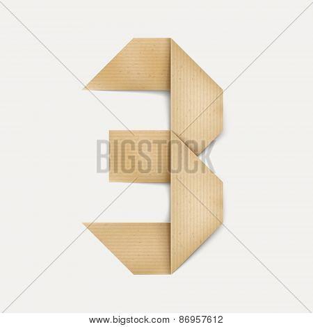 3D Elegant Folded Paper Number 3