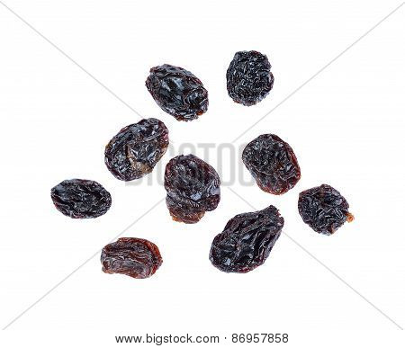 Dried Raisins Isolated On A White Background