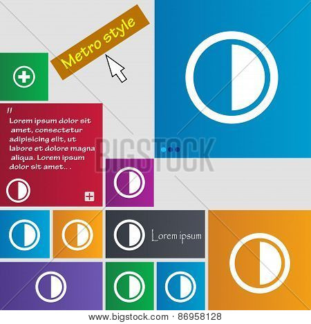 Contrast Icon Sign. Metro Style Buttons. Modern Interface Website Buttons With Cursor Pointer. Vecto