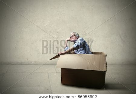 Businessman inside the box