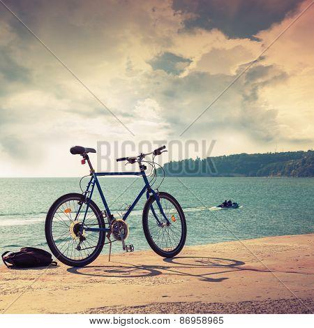 Bicycle Stands On Concrete Pier, Black Sea Coast