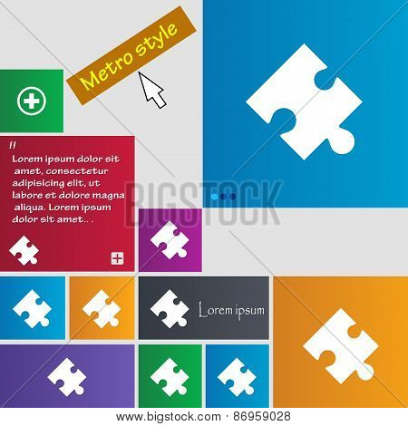 Puzzle Piece Icon Sign. Metro Style Buttons. Modern Interface Website Buttons With Cursor Pointer. V
