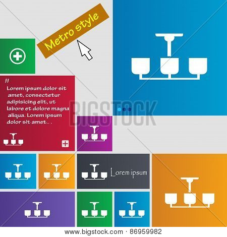 Chandelier Light Lamp Icon Sign. Metro Style Buttons. Modern Interface Website Buttons With Cursor P