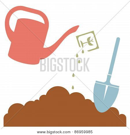 Watering Can, Plant Seeds and Garden Tool, Vector Illustration