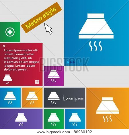 Kitchen Hood Icon Sign. Metro Style Buttons. Modern Interface Website Buttons With Cursor Pointer. V