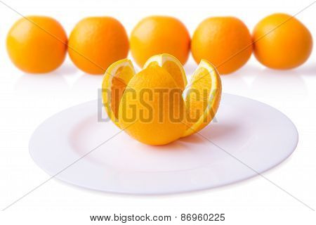 Orange On Plate With Blurred Background