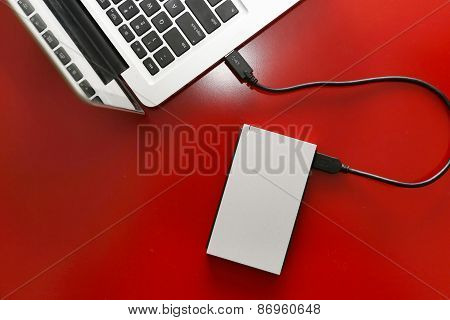 External hard drive connected to laptop