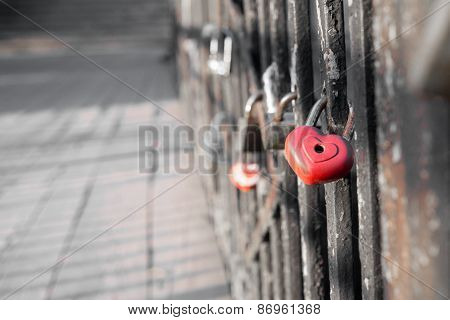 Red Love Lock On The Bridge