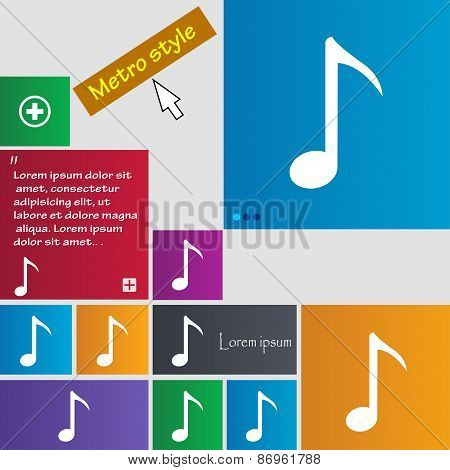 Music Note Icon Sign. Metro Style Buttons. Modern Interface Website Buttons With Cursor Pointer. Vec