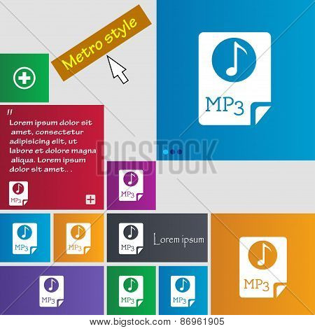 Audio, Mp3 File Icon Sign. Metro Style Buttons. Modern Interface Website Buttons With Cursor Pointer
