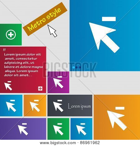 Cursor, Arrow Minus Icon Sign. Metro Style Buttons. Modern Interface Website Buttons With Cursor Poi