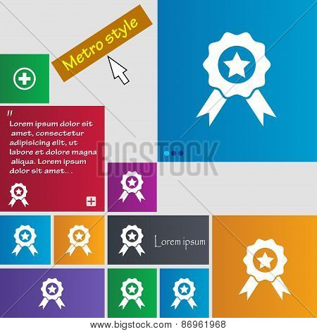 Award, Medal Of Honor Icon Sign. Metro Style Buttons. Modern Interface Website Buttons With Cursor P