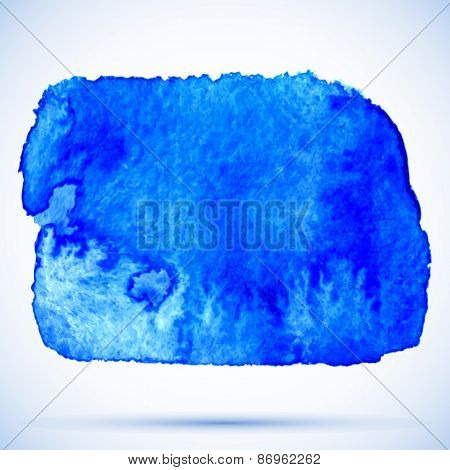 vector grunge watercolor frosted blue paint stain with shadow