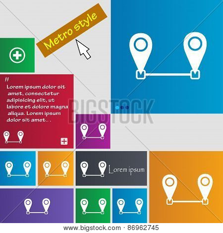 Map Pointer Icon Sign. Metro Style Buttons. Modern Interface Website Buttons With Cursor Pointer. Ve