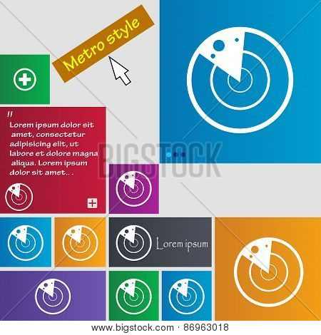 Radar Icon Sign. Metro Style Buttons. Modern Interface Website Buttons With Cursor Pointer. Vector