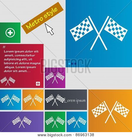 Race Flag Finish Icon Sign. Metro Style Buttons. Modern Interface Website Buttons With Cursor Pointe