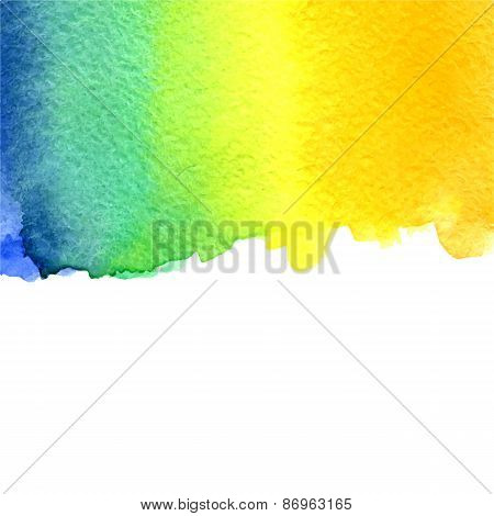 vector watercolor azure, yellow and orange gradient background with copy space