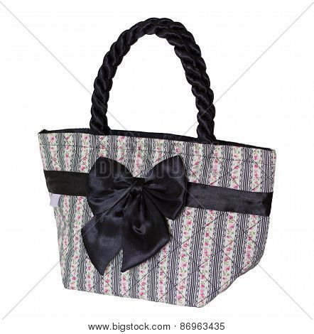 Women Bag With Bow Isolated On White With Clipping Path