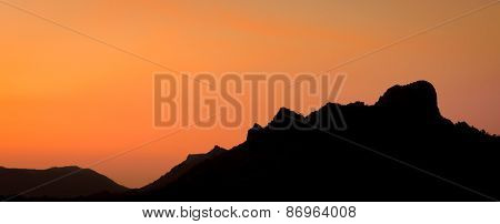 Golden Sunset Over The Mountain