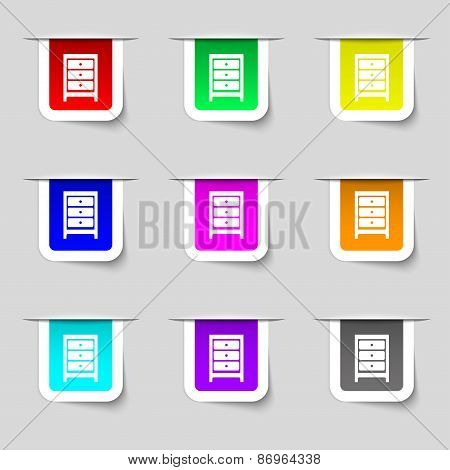 Nightstand Icon Sign. Set Of Multicolored Modern Labels For Your Design. Vector