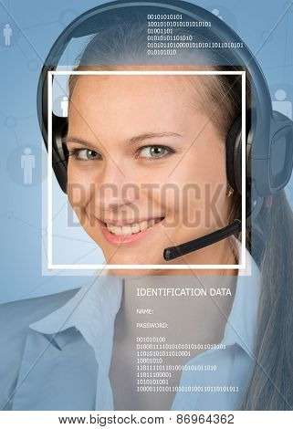 Concept of support service. Beautiful smiling girl in headphones with microphone