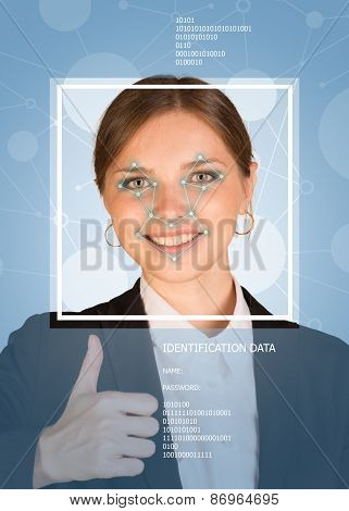 Business girl smiling, showing thumbs up. Face with lines, frame and text