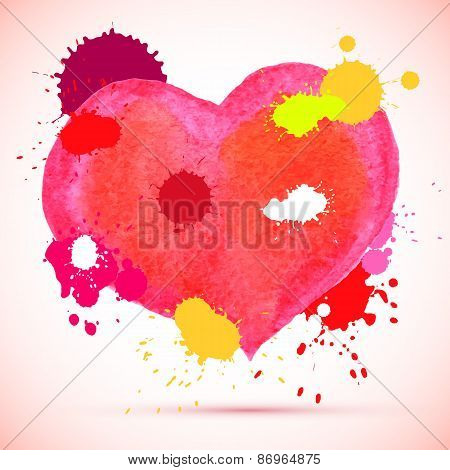 Vector watercolor cute pink heart with ink splashes