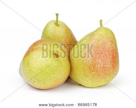 whole ripe pears isolated on white