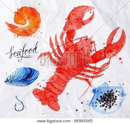 Seafood watercolor cancer, caviar, mussels, shrimp