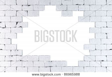 Brick Wall With A Large Hole. Isolated. Contains Clipping Path