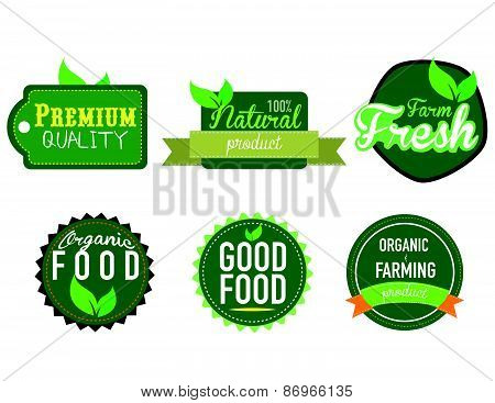 farm fresh, organic food label, badge or seal. vector illustration