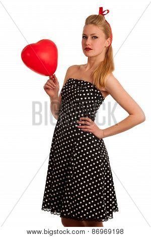 Retro Style Pin Up Girl With Blonde Hair In Black Dress Isolated Over White