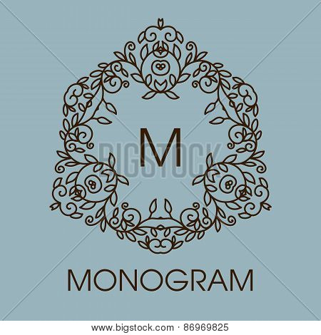Monogram design. Vector floral outline frame or borde