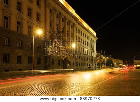 The Center Of Sofia, Bulgaria By Night