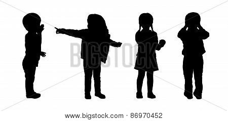 Children Standing Silhouettes Set 3