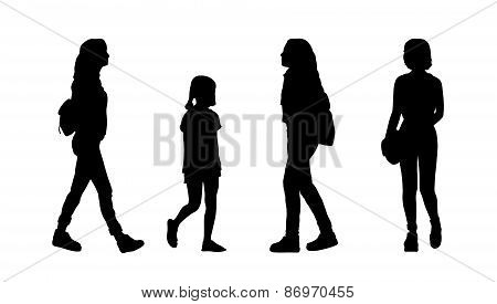 People Walking Outdoor Silhouettes Set 23