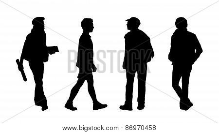 People Walking Outdoor Silhouettes Set 24