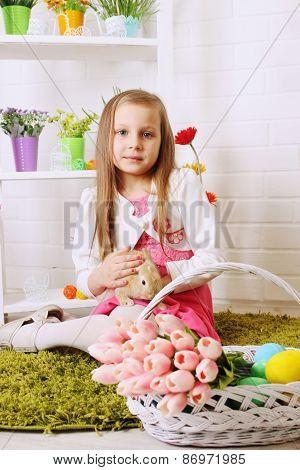 Girl Stroking Rabbit