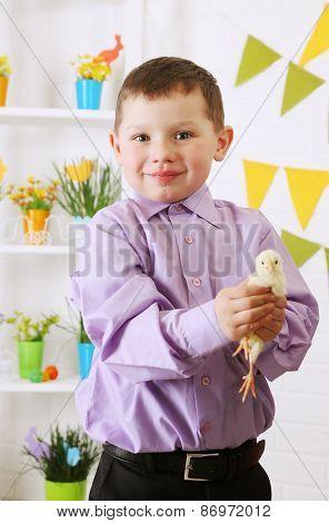 Happy Boy With Chicken