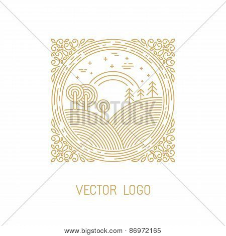 Vector Landscape Illustration In Linear Style
