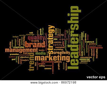 Vector eps concept or conceptual abstract leadership and success word cloud or word cloud isolated on black background