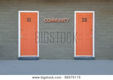 Motel doors and concept of Choice