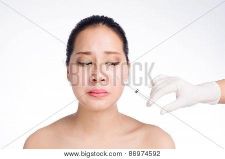 Beautiful Woman Fear Syringe