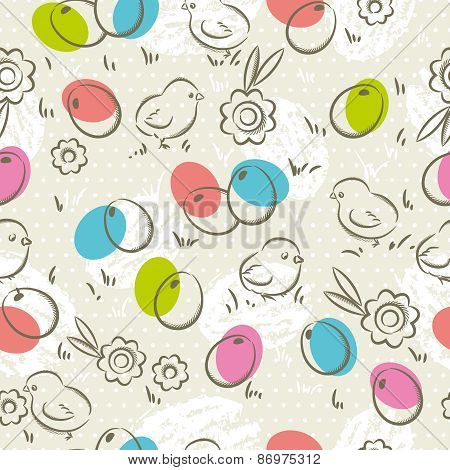 Easter Pattern, Easter Eggs, Flower And Chicks, Vector