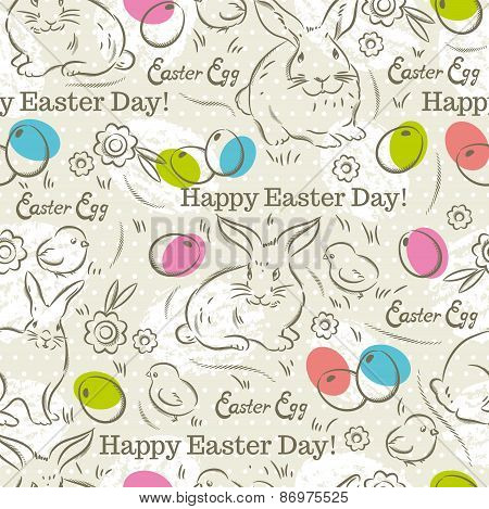 Easter Pattern With  Rabbits, Easter Eggs, Flowers And Chicks