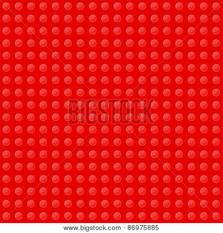 Red Seamless Background of Plastic Construction Block. Vector