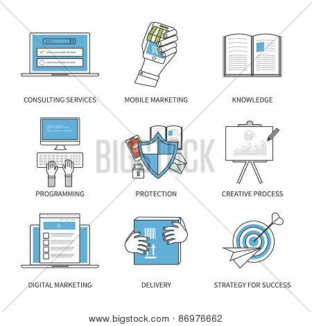 Flat design modern vector illustration concept for consulting services, digital marketing, programmi