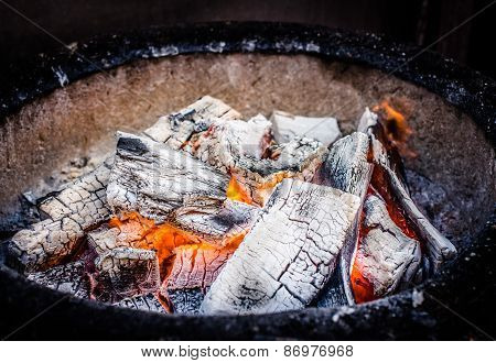 Red - hot charcoal ready for grill